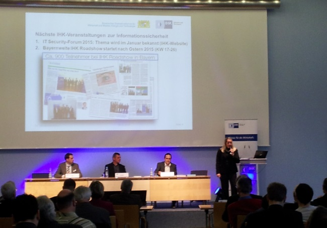 Gestern bei der Konferenz des Sicherheitznetzwerks München und der IHK ging es ums Grundsätzliche: Wie bekomme ich als Unternehmen mobile Geräte und Anwendungen in der Griff? Unternehmen können sich zur Beratung in Sachen Informationssicherheit an die IHK wenden.