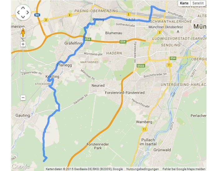 Screenshot: Route der Radtour München - Starnberg in Google Maps einblenden