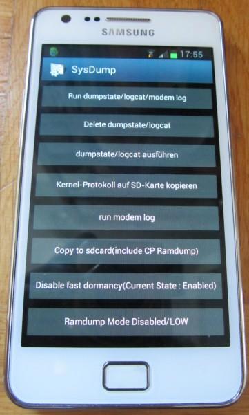 Android: Speicher freigeben: SysDump-Bildschirm