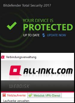 bitdefender Total Security und all-inkl Netzwerklaufwerk